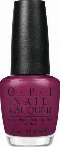 Bottle of OPI Nail Polish in dark purple/pink tone