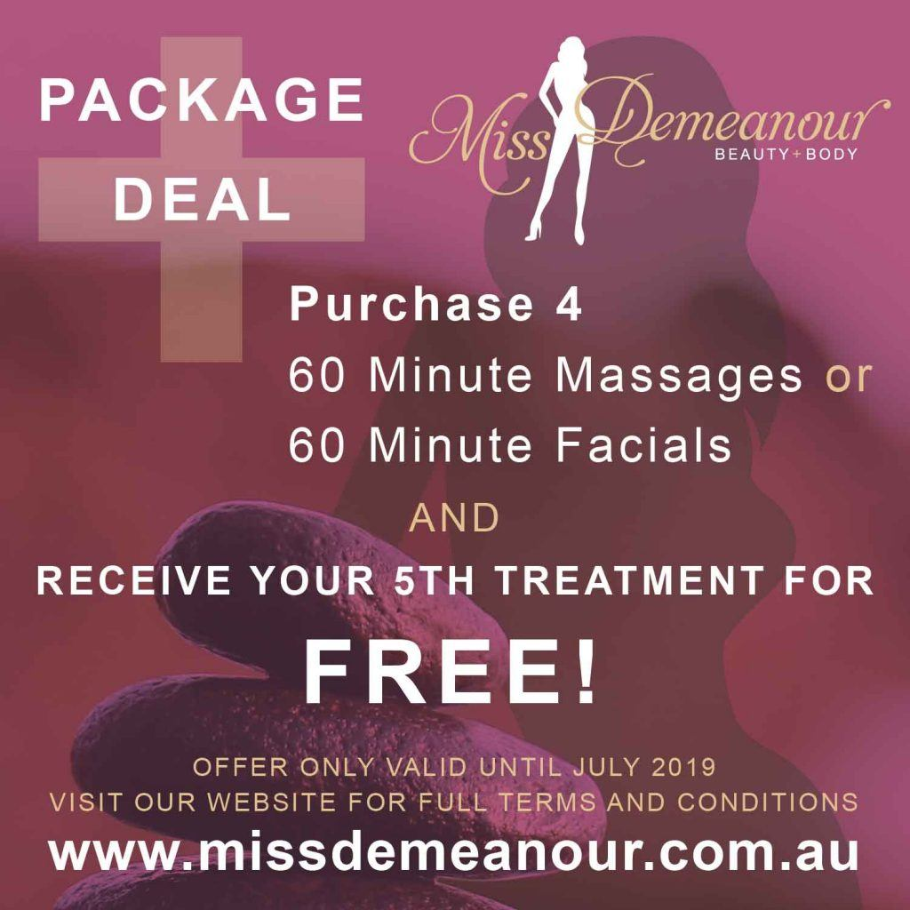 Purchase four (4) 60-minute facials or four (4) 60-minute massages or a combination of four (4) facials and massages, and we will give you a fifth massage or facial free! All pre-paid treatments, including the free massage or facial, must be used within April, May, June or July 2019.
